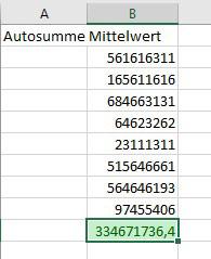 Excel 2016 Markierung des Mittelwertes als Abbildung