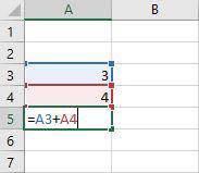 Excel 2016 Addieren der Zellen in einer Abbildung