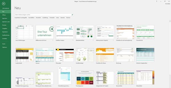 Excel 2016 Vorlagenübersicht in einer Abbildung