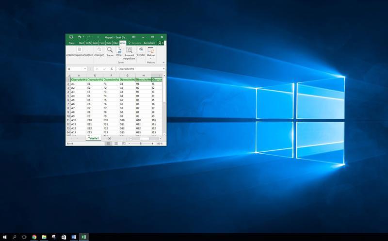 Excel 2016 erste Spalte fixieren in einer Abbildung