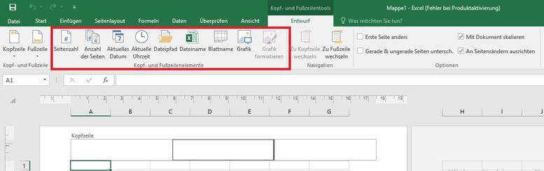 Excel 2016 Abbildung von Kopf- und Fußzeilenelementen Tab