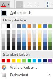 Word 2016 Abbildung von der Schriftfarbe
