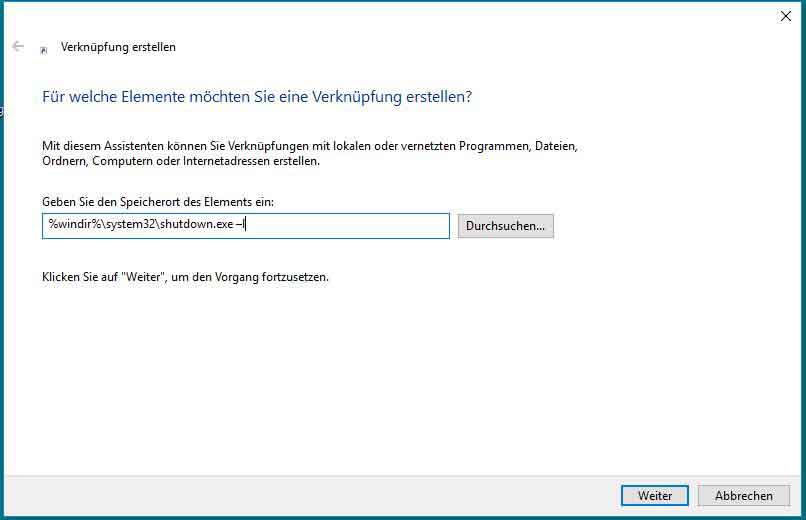 Verknüpfung für das Abmelden des Betriebssystem erstellen