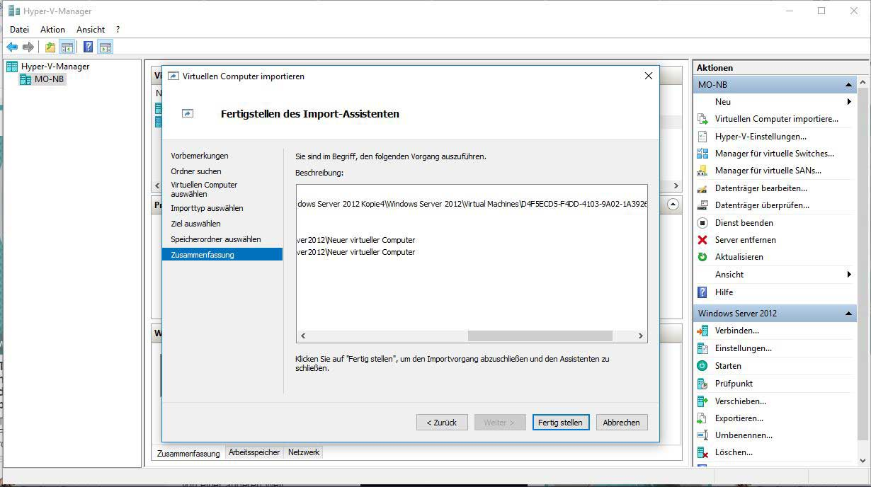 Windows Server 2012 importieren