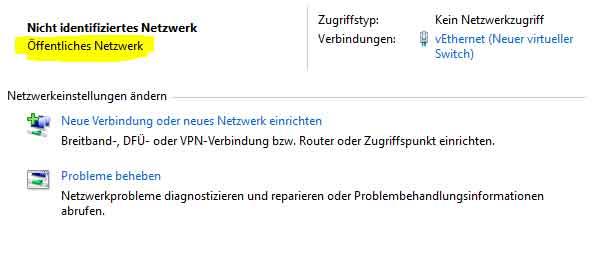 Windows Netzwerk und Freigabecenter