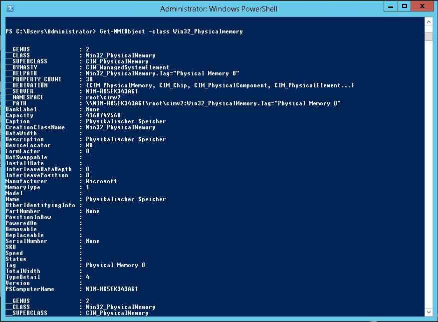 RAM Systeminformationen einsehen