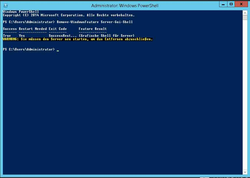 Windows Feature über PowerShell entfernen
