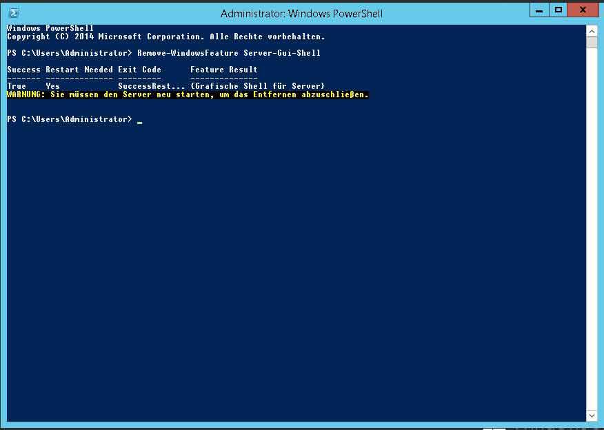 Windows Feature über PowerShell entfernen
