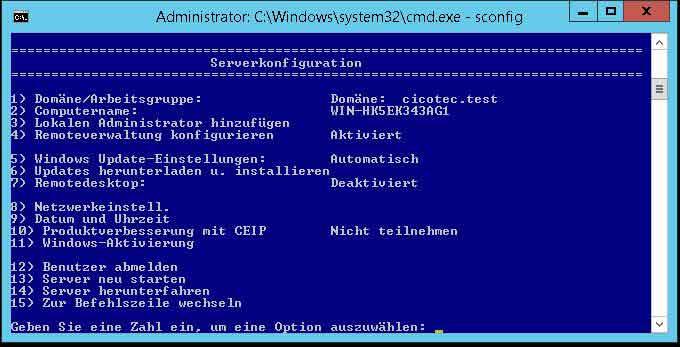 Konfigurationsskript SCONFIG starten