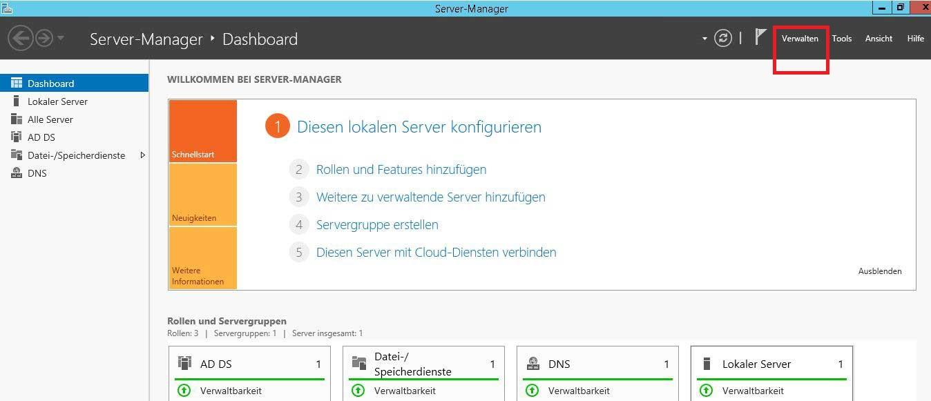Verwaltung des Server Managers