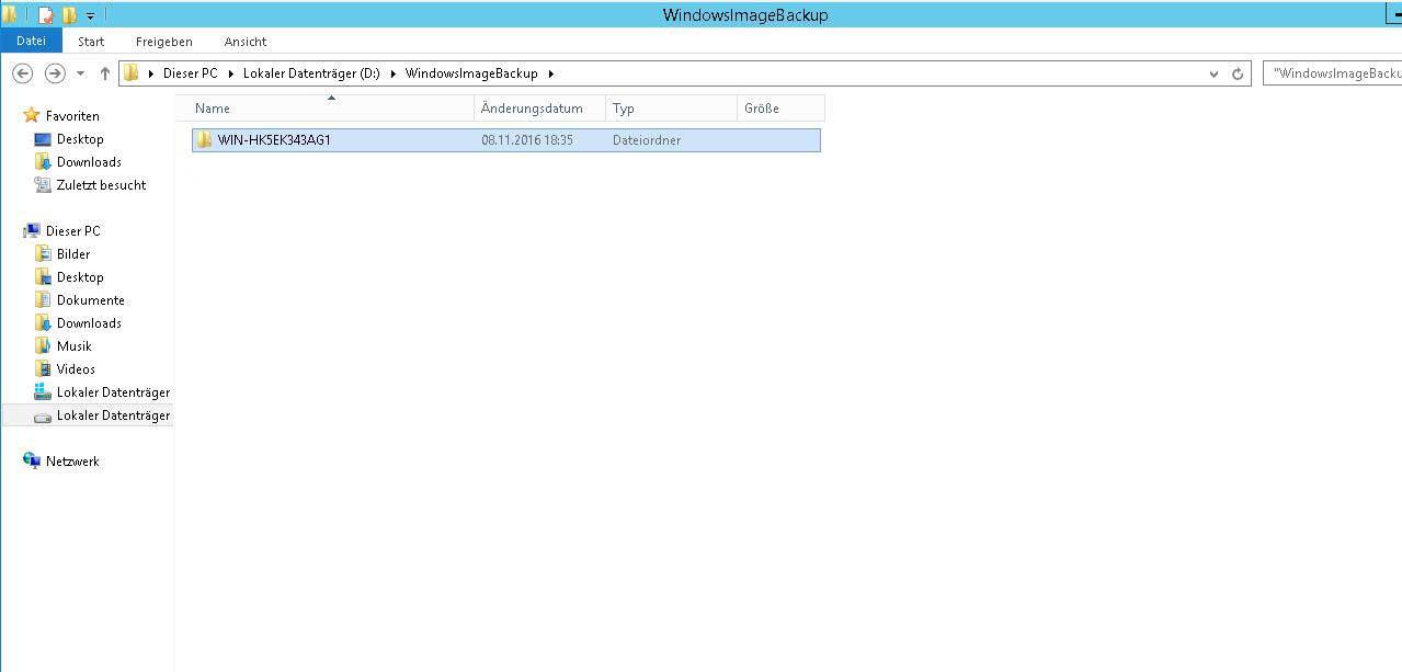 Server Image Sicherung erstellen