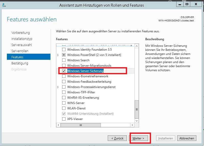 Installieren der Windows Server Sicherung