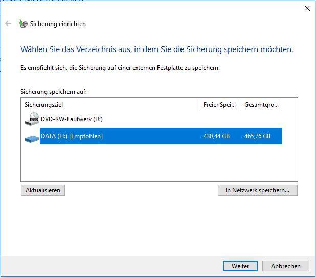 Windows Sicherung durchführen