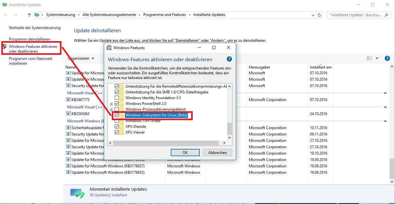 Aktivierung Linux Bash in Windows