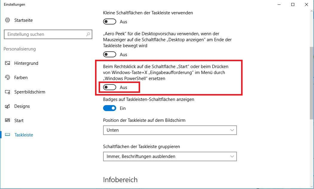Windows Taskleiste Eigenschaften