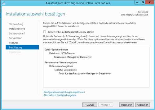 Installation der Datei iSCSI Dienste