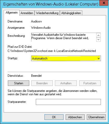 Windows Server Dienste starten