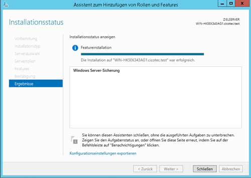 Windows Server Installation abschließen