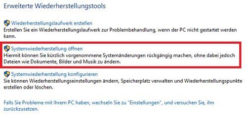 Systemwiederherstellung öffnen in Windows 10