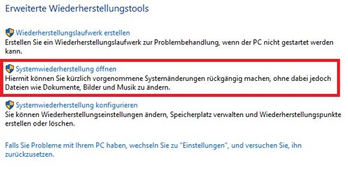 Systemwiederherstellung öffnen in Windows 10