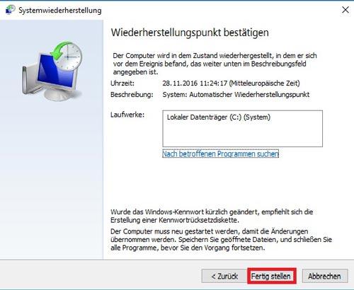 Systemwiederherstellungspunkt fertig stellen in Windows 10