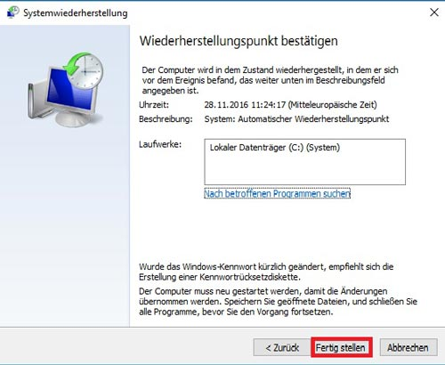 Systemwiederherstellungspunkt fertig stellen in Windows 10