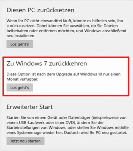 Windows 10 zurück auf Windows 7 oder 8 setzen