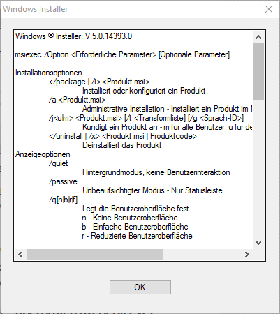 Windows Installer Eigenschaften