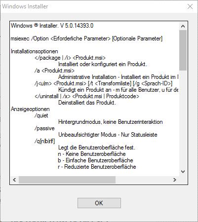 Windows Installer Eigenschaften
