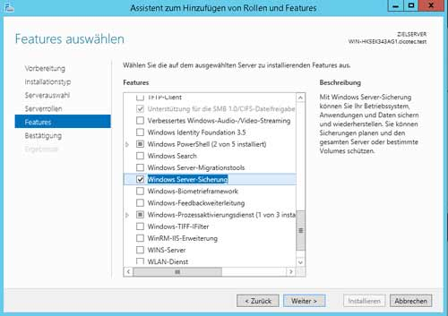 Windows Server Features hinzufügen