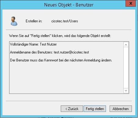 Active Directory Nutzer fertig stellen