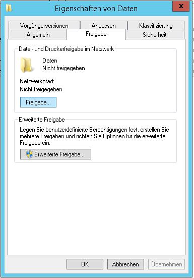 Dateien Freigbabe für den Netzlaufwerk