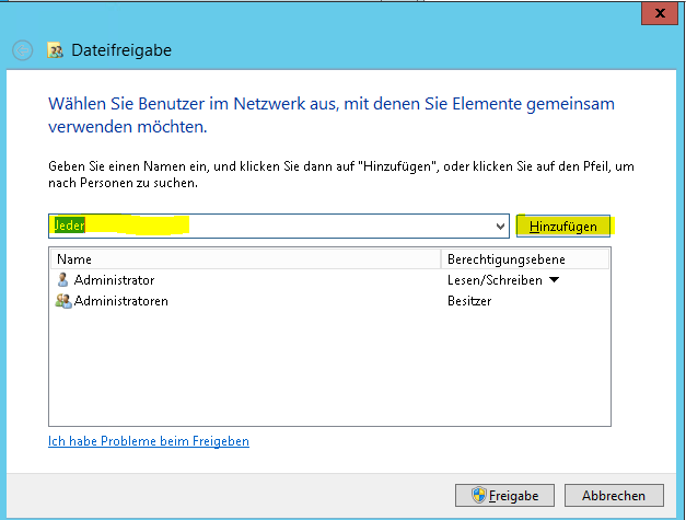 Benutzer freigeben für Dateien