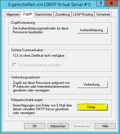 SMTP Server Einstellungen