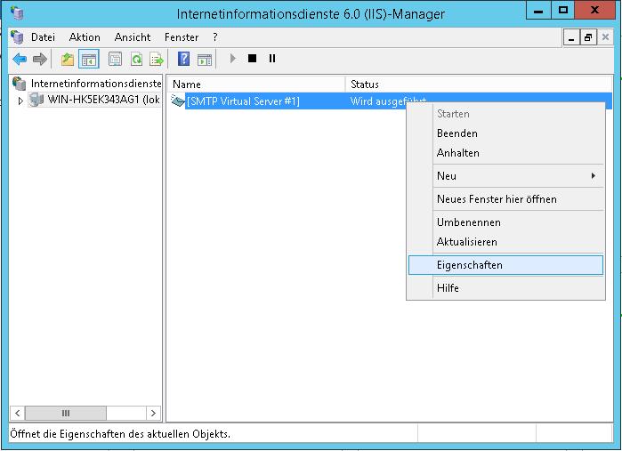 SMTP Server konfigurieren