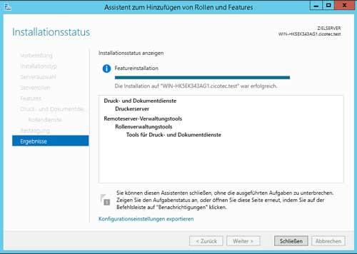 Erfolgreiche Installation der Server Features