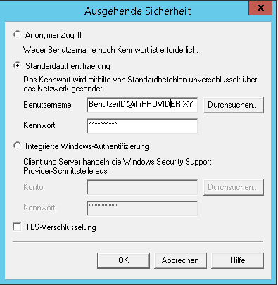 SMTP Server Provider Authentifizierung