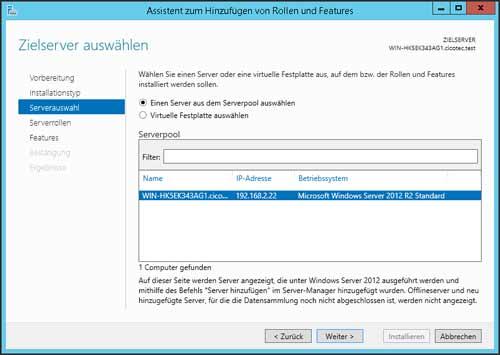 Server Auswahl für die Installation